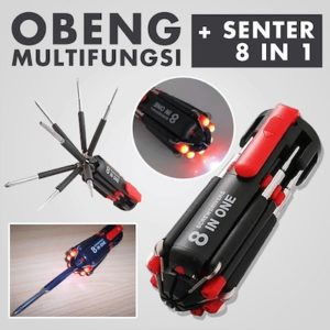 Obeng Multifungsi 8 in 1 + Senter LED