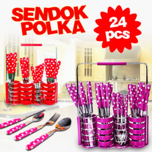 Sendok Set Polkadot Stainless Steel Isi 24 Pcs