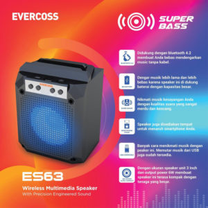Evercoss ES63 Speaker Wireless Bluetooth Super Bass
