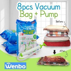 Plastik Vacum Isi 8 + Pompa (4+4) Perapi Pakaian Wenbo