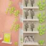 3D Wall Sticker Model DAUN Bahan Kayu Ringan