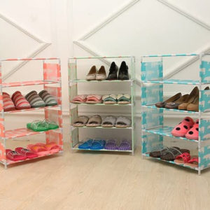Rak Sepatu Portable 5 Susun Serbaguna Kemasan Plastik / Dus