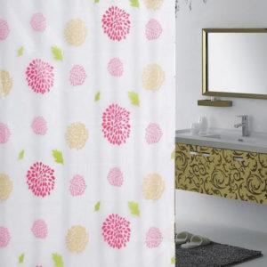 Tirai Kamar Mandi Anti Air + Pengait Motif Bunga Pink