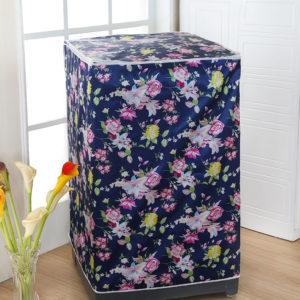 Tutup Cover Pelindung Mesin Cuci 2 Tabung Motif Bunga Biru
