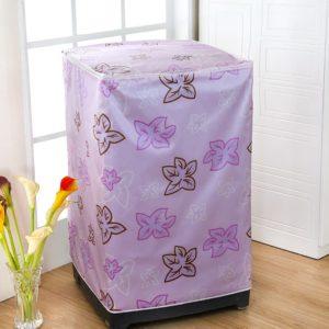 Tutup Cover Pelindung Mesin Cuci 2 Tabung Motif Bunga Ungu