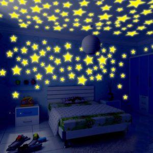 Stiker Diding 3D Nyala 100 Pcs Glow In The Dark Bintang