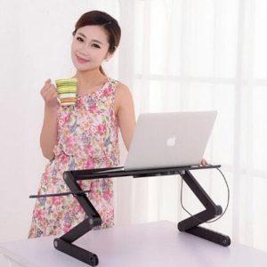 Meja Laptop Lipat Portable Aluminium Dilengkapi Cooler Fan dan Mousepad