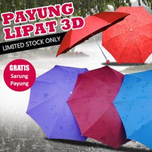 Payung Lipat Ajaib (Muncul Motif 3D Jika Basah)