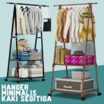 Rak Pakaian Portable Hanger Baju Serbaguna Dengan 4 Roda X17