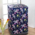 Tutup Cover Pelindung Mesin Cuci 1 Tabung Motif Bunga Biru