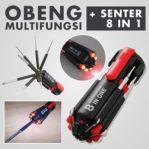 Obeng Multifungsi 8 in 1 + Senter LED