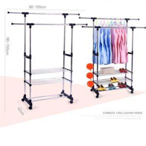 [VERSI 2] Standing Hanger Double Rak Gantungan Pakaian Baju Serbaguna