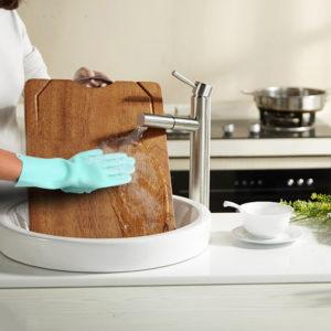 (1 Pasang) Sarung Tangan Sikat Cuci Piring Silicone Serbaguna