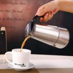 Espresso Coffee Maker (Moka Pot) Stainless Steel 300 ML – Teko Kopi 6 Cup
