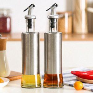 Botol Minyak Goreng Kaca Stainless Steel Serbaguna 350 ML