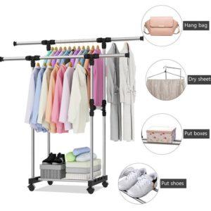 Standing Hanger Double Rak Gantungan Pakaian Baju Serbaguna