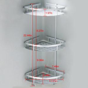 266 Rak Sudut Dinding Kamar Mandi 3 Susun Aluminium
