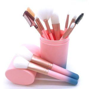 Kuas Make Up Tube Pink Gradasi Biru 12 Pcs