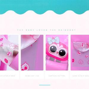 (OWL) Jas Hujan Anak Karakter Dengan Ruang Untuk Tas Ransel