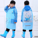 (PERAHU) Jas Hujan Anak Karakter Dengan Ruang Untuk Tas Ransel
