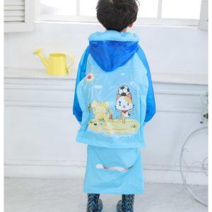 (KUCING) Jas Hujan Anak Karakter Dengan Ruang Untuk Tas Ransel