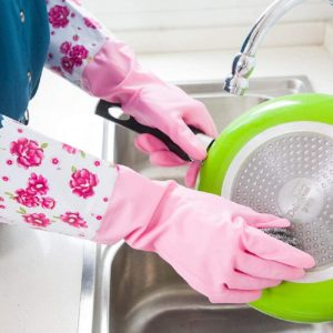 297 Sarung Tangan Cuci Piring Karet Panjang Motif