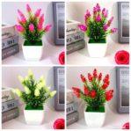 (B001) Bunga Hias Plastik + Pot