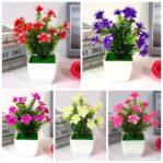 (B002) Bunga Hias Plastik + Pot
