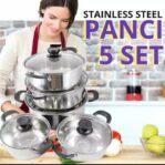 Panci Set Stainless Steel Tutup Kaca Isi 5 Pcs